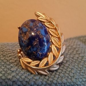 VINTAGE EMMONS Cabachon Pin-Gorgeously Blue Beauty